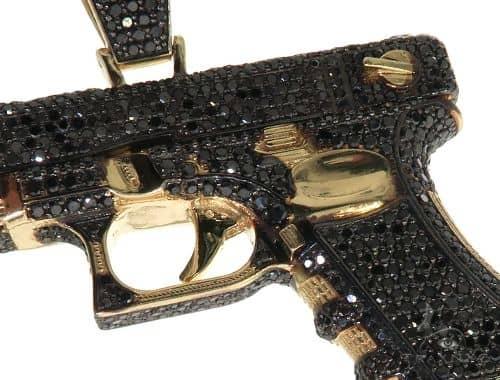14K Yellow Gold Prong Black Diamond Gun Pendant 63853 Metal
