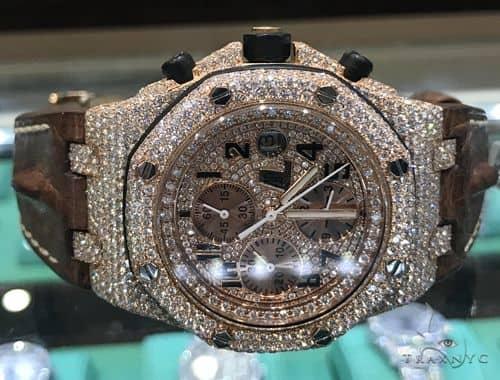 Rose Gold  Audemars Piguet Royal Oak Offshore Diamond Watch Leather Strap 63892 Audemars Piguet Watches