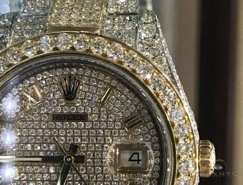 Fully Iced 41mm Two Tone Stainless Steel and 18K Yellow Gold Datejust II Rolex Watch 63896 Diamond Rolex Watch Collection