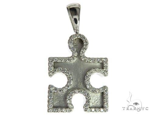 CHARITY 14K White Gold Diamond Puzzle Piece Pendant Stone