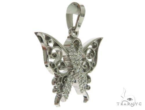 14K White Gold Prong Diamond Butterfly Pendant 63906 Stone