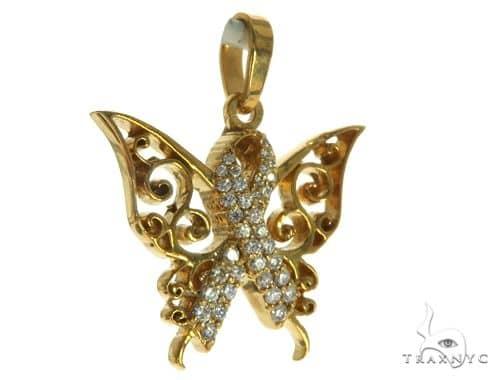 14K Yellow Gold Prong Diamond Butterfly Pendant 63907 Stone