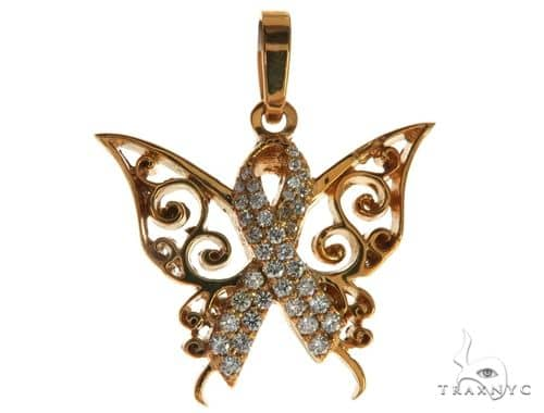 CHARITY 14K Rose Gold Diamond Butterfly Pendant 63908 Stone