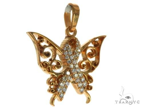 14K Rose Gold Prong Diamond Butterfly Pendant 63908 Stone