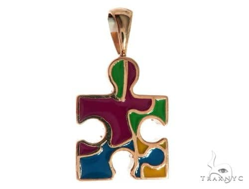 CHARITY 14K Rose Gold Diamond Puzzle Piece Pendant 63916 Stone