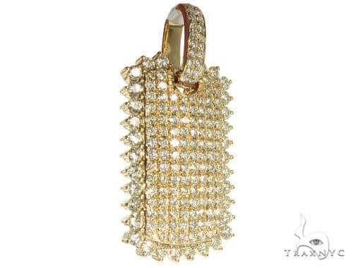 14K Yellow Gold Pave Diamond Dog Tag Charm Pendant 63951 Metal