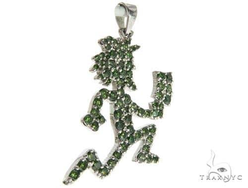 14K White Gold Green Diamonds Hatchet Man Pendant 63955 Metal