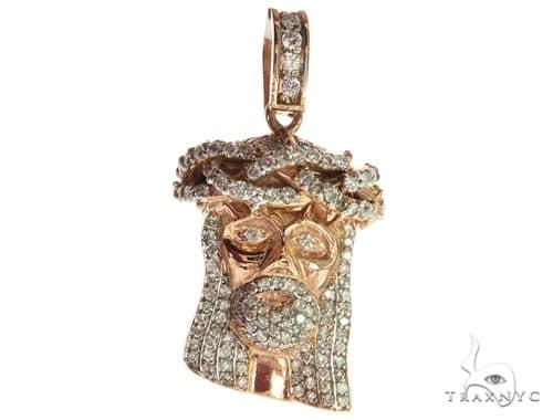 14K Rose Gold Diamond Jesus Head Pendant 63958 Style