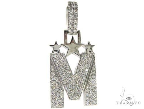 Custom Diamond M Pendant 63962 Metal
