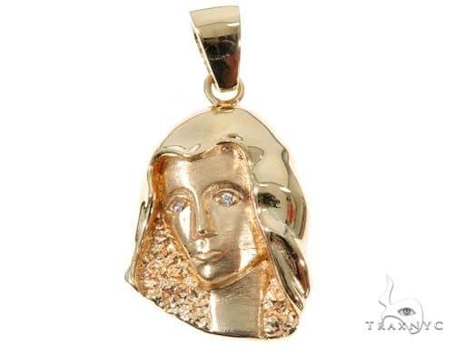 14K Yellow Gold Bezel Diamond Virgin Mary Charm Pendant 63966 Stone