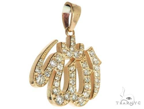 14K Yellow Gold Diamond Allah Islam Religious Charm Pendant 63970 Metal