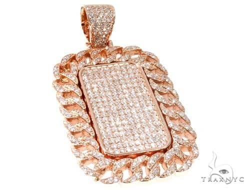 Rose Gold Micro Pave Diamond Dog Tag Pendant 64009 Metal