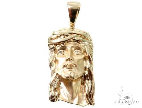14K Yellow Gold Bezel Diamond Jesus Piece 64010 Metal