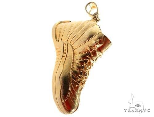 Air Jordan 12 Sneaker Shoe Charm Pendant Mens Metal Yellow Gold 14k