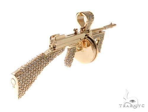 Custom Tommy Gun Diamond Pendant Mens Metal Yellow Gold 0