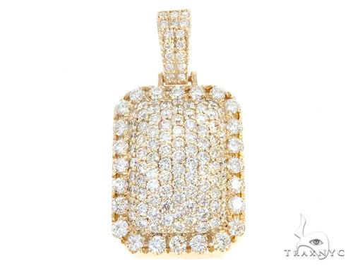 14k Yellow Gold Diamond Pendant 64957 Mens Hip Hop Pendant Yellow Gold 14k Round Cut 3 52 Ct