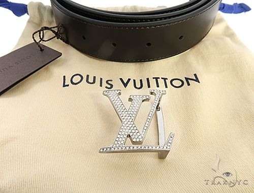 Diamond Louis Vuitton Belt Buckle 65042 Mens Style White Stainless Steel Round Cut 3 16 Ct