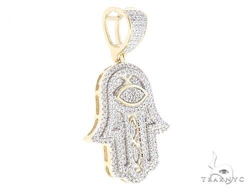 2.00 Ct Round Cut Diamond Hamsa Hand Pendant 10K White Gold Over 925