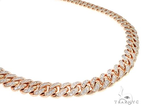 Special Custom Heavy Solid Rose Gold Miami Cuban Link Chain 65256 Mens Diamond Rose Gold 14k Round Cut 20 00 Ct