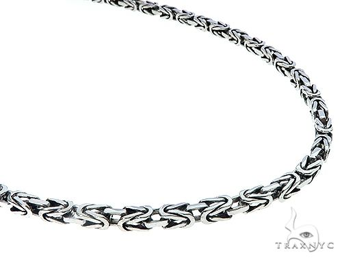 14k White Gold Byzantine Link Chain 24 Inches 4mm 65350 Mens Gold