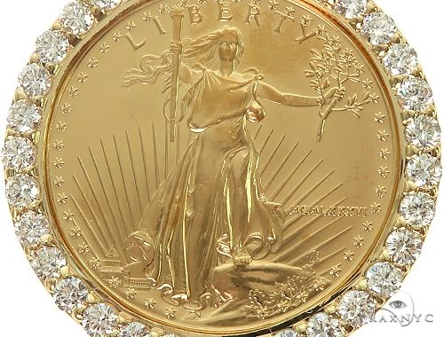 Us Mint American Liberty 1oz Gold Coin With 18k Diamond Bezel 66063 Mens Metal Yellow Gold 18k Round Cut 4 26 Ct