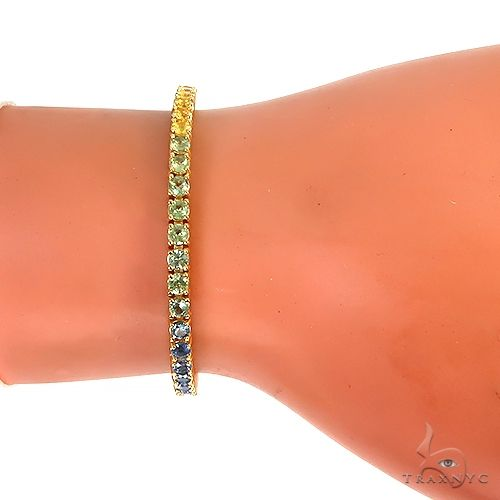 Details about  /18k Yellow Gold Sterling Silver Round Rainbow Sapphires 4mm Wide Tennis Bracelet